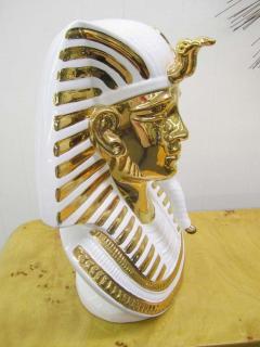 Egyptian King Tut Italian Ceramic Sculpture Bust Hollywood Regency - 1862666