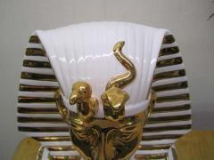 Egyptian King Tut Italian Ceramic Sculpture Bust Hollywood Regency - 1862670