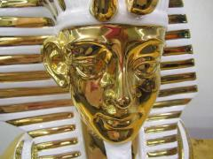 Egyptian King Tut Italian Ceramic Sculpture Bust Hollywood Regency - 1862671