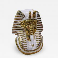 Egyptian King Tut Italian Ceramic Sculpture Bust Hollywood Regency - 1865216