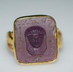Egyptian Revival Carved Amethyst Ring - 1126985