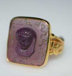 Egyptian Revival Carved Amethyst Ring - 1126986