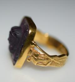 Egyptian Revival Carved Amethyst Ring - 1126987