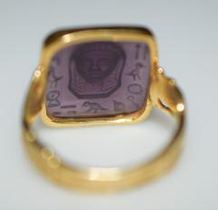 Egyptian Revival Carved Amethyst Ring - 1126988