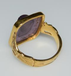 Egyptian Revival Carved Amethyst Ring - 1126989
