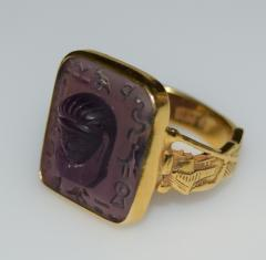 Egyptian Revival Carved Amethyst Ring - 1126995