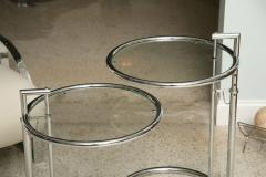 Eileen Gray A Pair of Eileen Gray Polished Chrome and Glass Tables - 348374