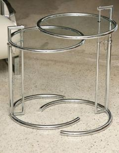Eileen Gray A Pair of Eileen Gray Polished Chrome and Glass Tables - 348376