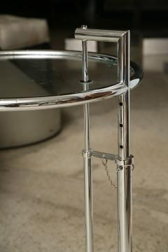Eileen Gray A Pair of Eileen Gray Polished Chrome and Glass Tables - 348379
