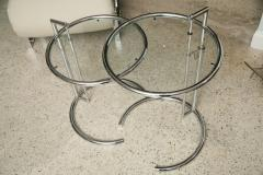 Eileen Gray A Pair of Eileen Gray Polished Chrome and Glass Tables - 348380