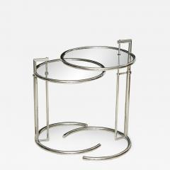 Eileen Gray A Pair of Eileen Gray Polished Chrome and Glass Tables - 349304