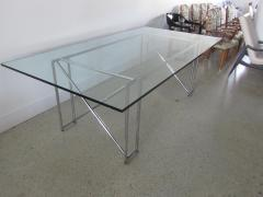 Eileen Gray An American Modern Polished Chrome and Glass X form Table - 1236328