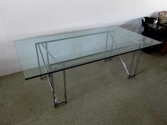 Eileen Gray An American Modern Polished Chrome and Glass X form Table - 1236329