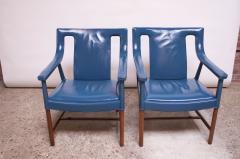 Ejner Larsen Aksel Bender Madsen Pair of Danish Blue Leather Armchairs by Ejner Larsen and Aksel Bender Madsen - 1039001