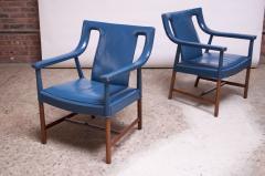 Ejner Larsen Aksel Bender Madsen Pair of Danish Blue Leather Armchairs by Ejner Larsen and Aksel Bender Madsen - 1039003