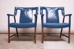 Ejner Larsen Aksel Bender Madsen Pair of Danish Blue Leather Armchairs by Ejner Larsen and Aksel Bender Madsen - 1039006