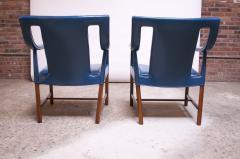 Ejner Larsen Aksel Bender Madsen Pair of Danish Blue Leather Armchairs by Ejner Larsen and Aksel Bender Madsen - 1039011