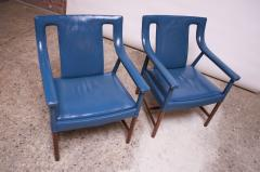 Ejner Larsen Aksel Bender Madsen Pair of Danish Blue Leather Armchairs by Ejner Larsen and Aksel Bender Madsen - 1039012