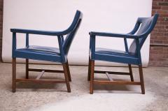 Ejner Larsen Aksel Bender Madsen Pair of Danish Blue Leather Armchairs by Ejner Larsen and Aksel Bender Madsen - 1039016
