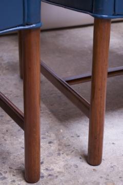 Ejner Larsen Aksel Bender Madsen Pair of Danish Blue Leather Armchairs by Ejner Larsen and Aksel Bender Madsen - 1039020