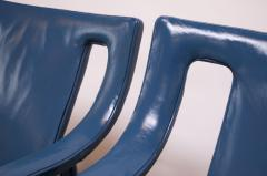 Ejner Larsen Aksel Bender Madsen Pair of Danish Blue Leather Armchairs by Ejner Larsen and Aksel Bender Madsen - 1039021
