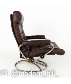 Ekornes Stressless Mid Century Chrome and Leather Lounge Chair and Ottoman - 1810425