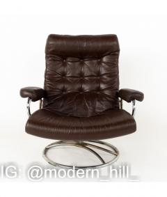 Ekornes Stressless Mid Century Chrome and Leather Lounge Chair and Ottoman - 1810430
