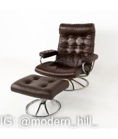 Ekornes Stressless Mid Century Chrome and Leather Lounge Chair and Ottoman - 1810431