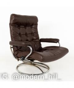 Ekornes Stressless Mid Century Chrome and Leather Lounge Chair and Ottoman - 1810432