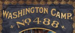 Elaborate Silk Banner with Gilded Text of George Washington - 577659