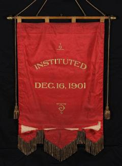 Elaborate Silk Banner with Gilded Text of George Washington - 577663