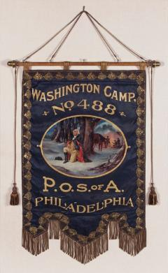 Elaborate Silk Banner with Gilded Text of George Washington - 577664