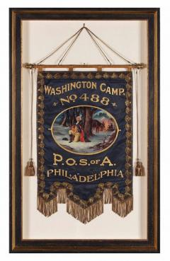 Elaborate Silk Banner with Gilded Text of George Washington - 577665