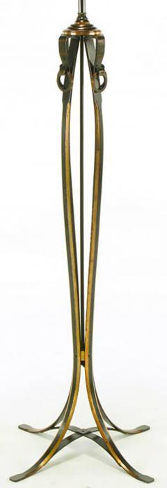 Elegant 1930s Floor Lamp of Copper over Bronze Straps with Drop Rings - 277052