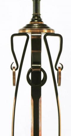 Elegant 1930s Floor Lamp of Copper over Bronze Straps with Drop Rings - 277056