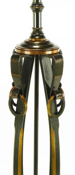 Elegant 1930s Floor Lamp of Copper over Bronze Straps with Drop Rings - 277058