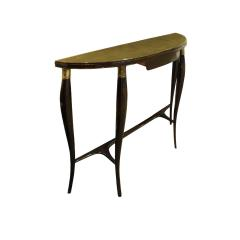 Elegant Demi Lune Shaped Console with Gold Leaf Glass Top 1950s - 752816