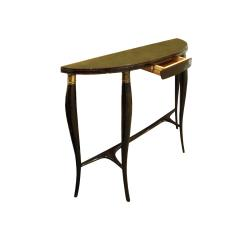 Elegant Demi Lune Shaped Console with Gold Leaf Glass Top 1950s - 752817