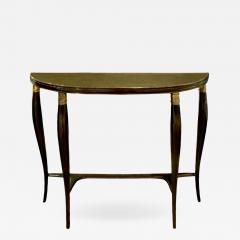 Elegant Demi Lune Shaped Console with Gold Leaf Glass Top 1950s - 753888