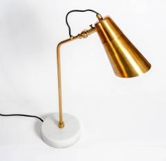 Elegant Desk Lamps with Marble Foot and Coppered Brass Body - 717636
