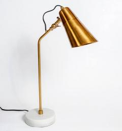 Elegant Desk Lamps with Marble Foot and Coppered Brass Body - 717637