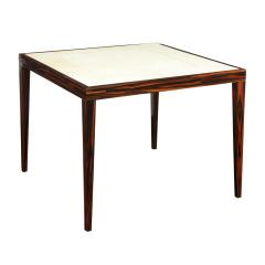 Elegant Game Table In Macassar Ebony With Lacquered Goatskin Top 1980s - 2077388