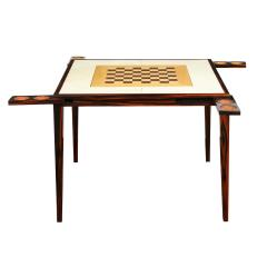 Elegant Game Table In Macassar Ebony With Lacquered Goatskin Top 1980s - 2077389