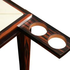 Elegant Game Table In Macassar Ebony With Lacquered Goatskin Top 1980s - 2077391