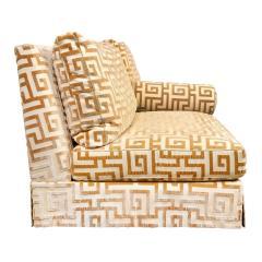 Elegant Pair of Custom Armless Sofas in Greek Key Velvet 1990s - 2137244