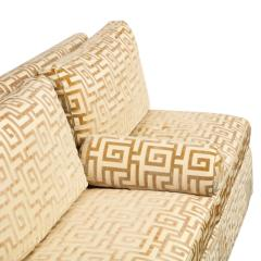 Elegant Pair of Custom Armless Sofas in Greek Key Velvet 1990s - 2137245