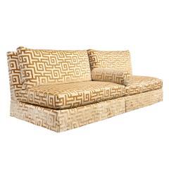 Elegant Pair of Custom Armless Sofas in Greek Key Velvet 1990s - 2137255