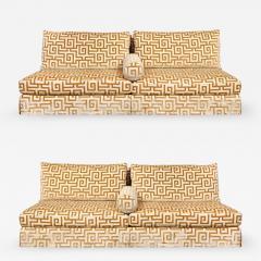 Elegant Pair of Custom Armless Sofas in Greek Key Velvet 1990s - 2139125