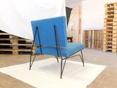 Elegant Pair of Modernist Armchairs I Lush Blue Upholstery - 940268