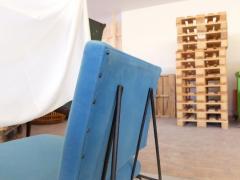 Elegant Pair of Modernist Armchairs I Lush Blue Upholstery - 940269